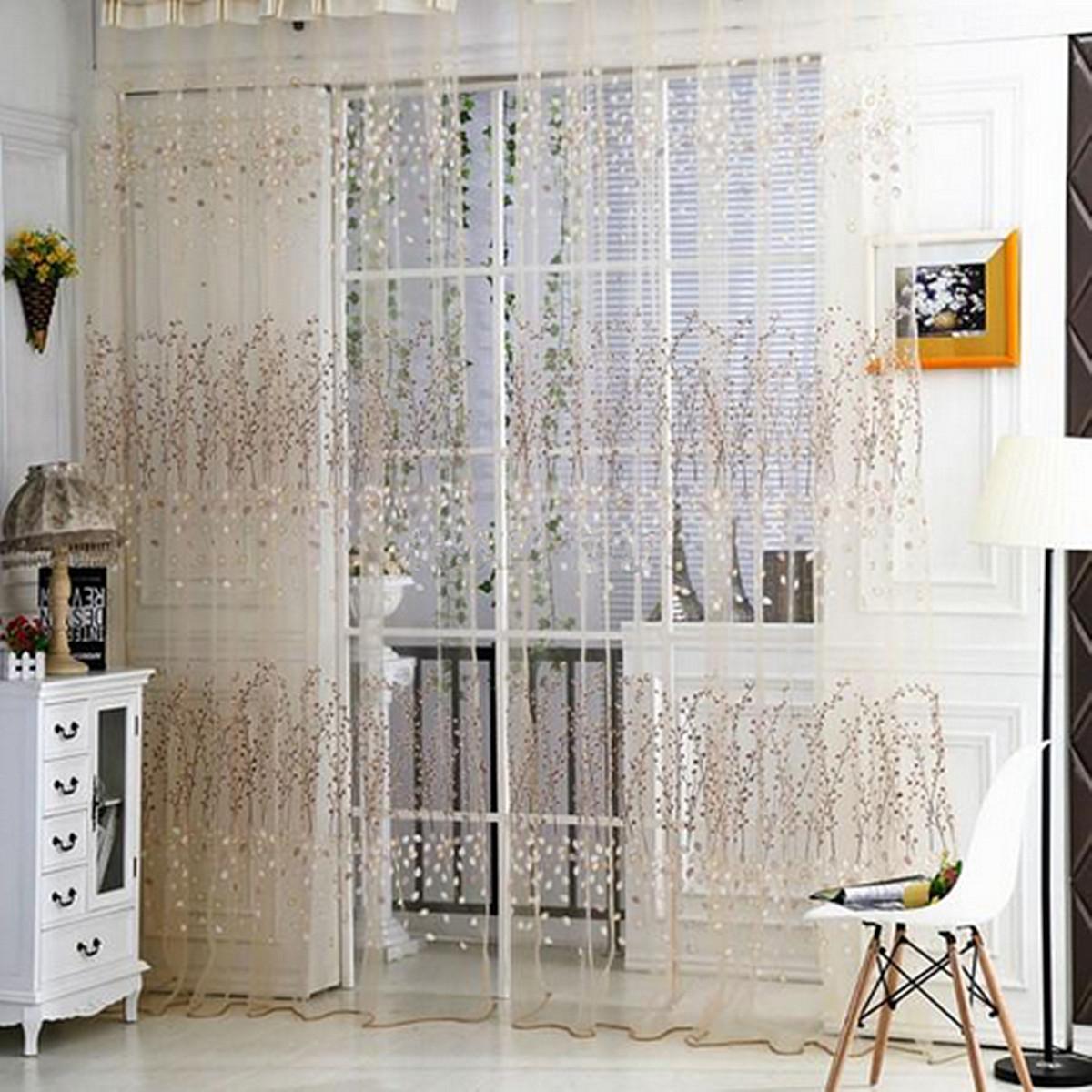 Pastoral rideau fils fil porte fen tre chambre maison fleurs floral voile - Ebay maison a vendre ...
