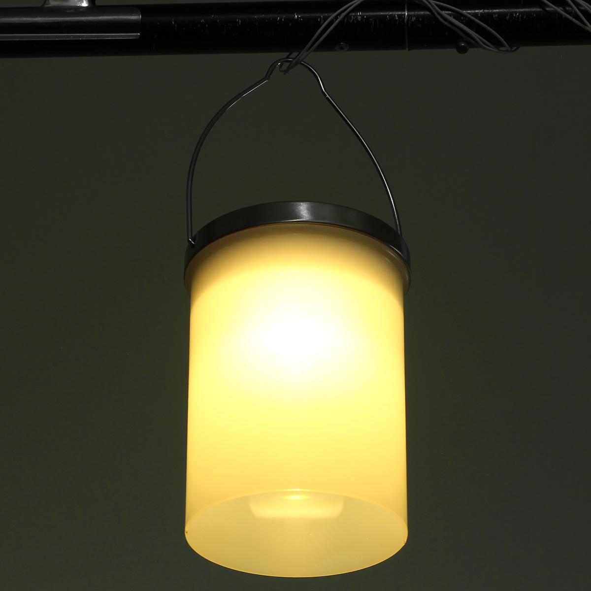 Solar powered hanging cylinder outdoor light led landscape for Landscape lighting lamps
