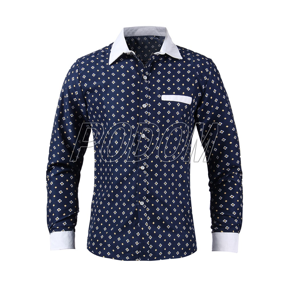 2015 men 39 s business casual casual print formal dress long for Business casual polo shirt
