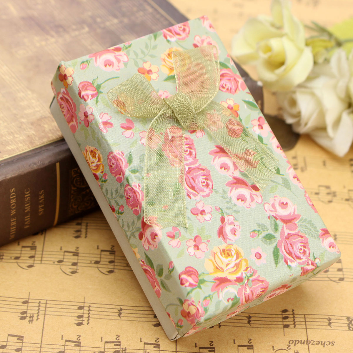 Flower Floral Bowknot Jewelry Box Pendant Necklace Earrings Ring Gift Paper Case