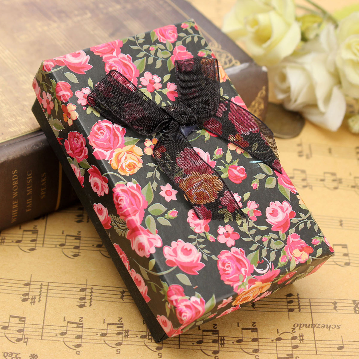 flower floral bowknot jewelry box pendant necklace. Black Bedroom Furniture Sets. Home Design Ideas
