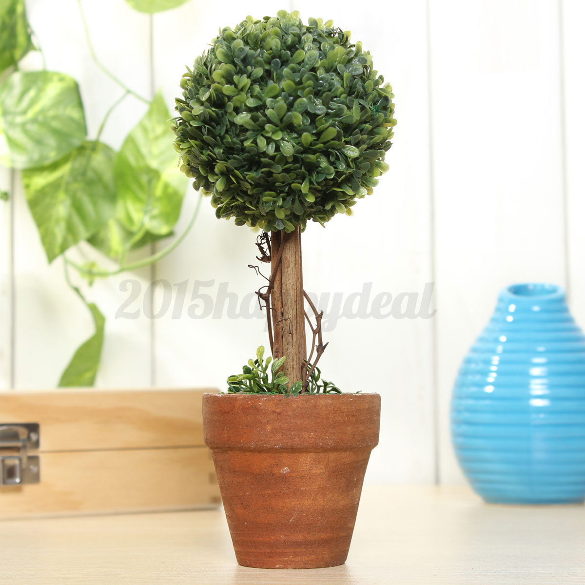 Plastic garden grass ball topiary tree pot dried green for Garden topiary trees