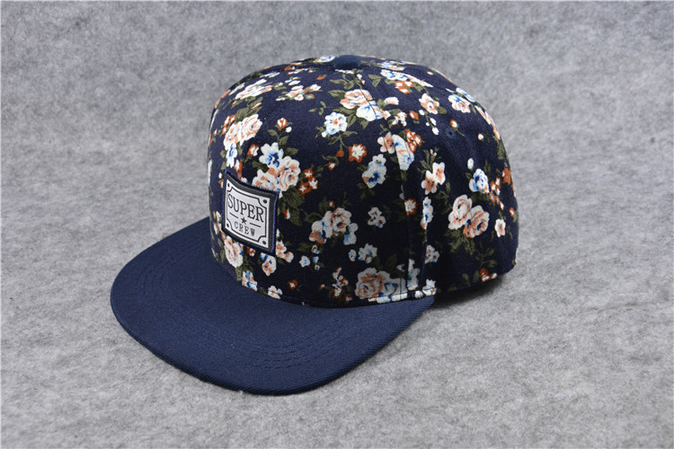 Women Men Floral Snapback Adjustable Baseball Cap Flat Peak Visor Hip Hop Hats