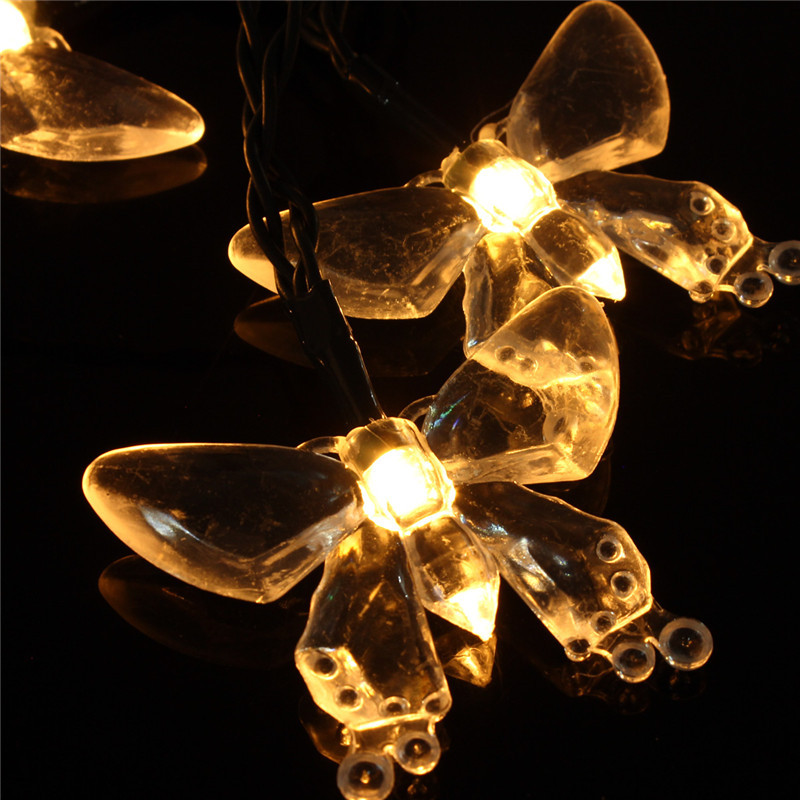 Set of 20 Solar String Fairy Dragonfly Butterfly Garden Xmas Lights LED Lanterns
