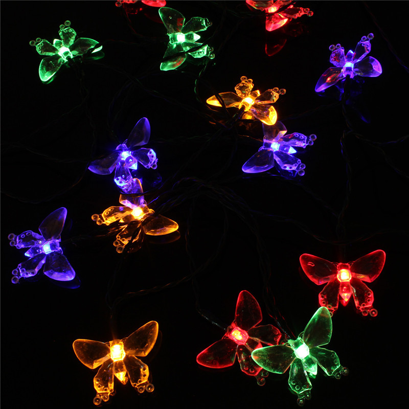 Set of 20 Solar String Fairy Dragonfly Butterfly Garden Xmas Lights LED Lanterns