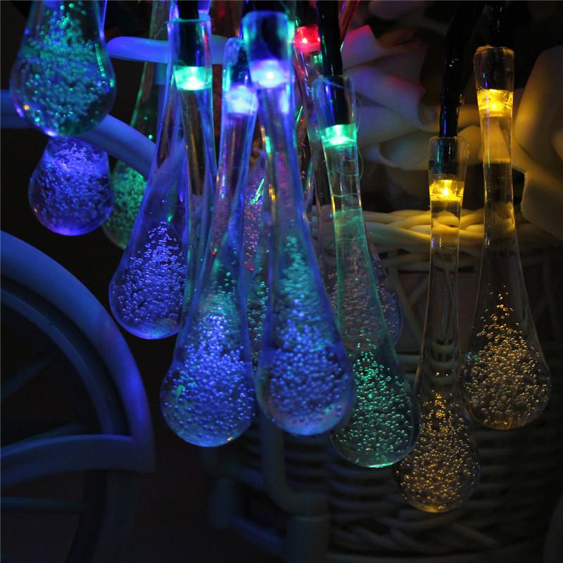 20 led solar lichterkette regentropfen partylicht weihnachten garten innen au en. Black Bedroom Furniture Sets. Home Design Ideas