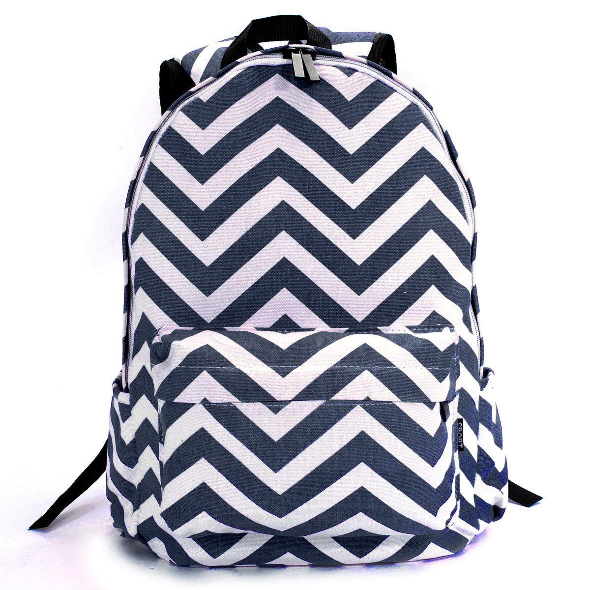 UK Girls Moire Canvas Satchel Rucksack Backpack Shoulder Campus School Bag New