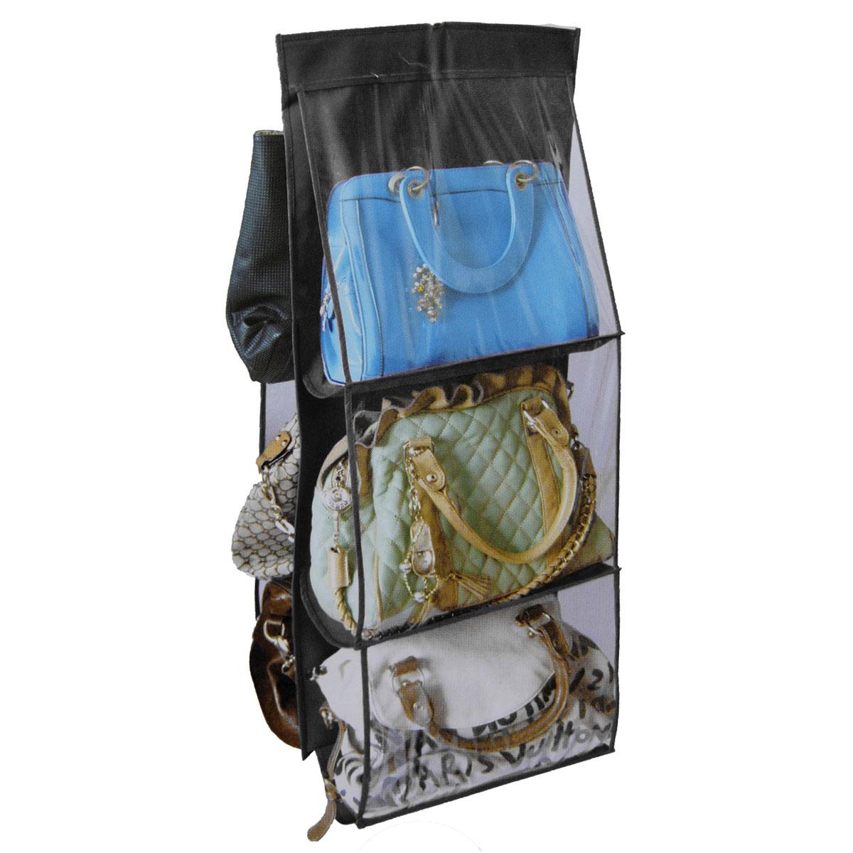 6 pocket hanging handbag purse bag tidy organiser storage - Handbag hanger for closet ...