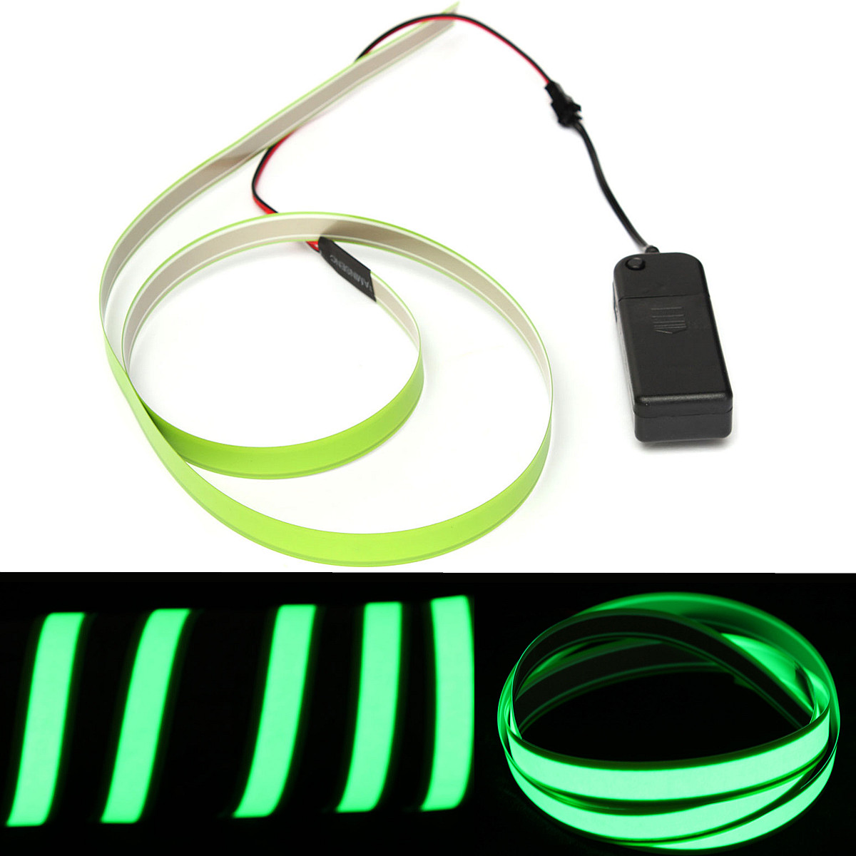 Flexible Electroluminescent Tape EL Wire Glowing With 3V AA Battery ...