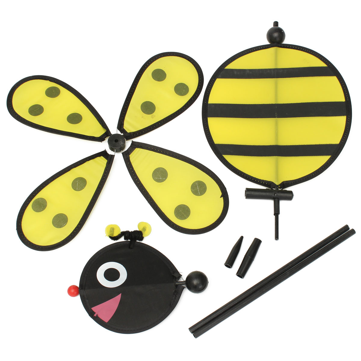 Large Bumble Bee Ladybug Windmill Wind Spinner Whirligig Home Yard Garden Idea