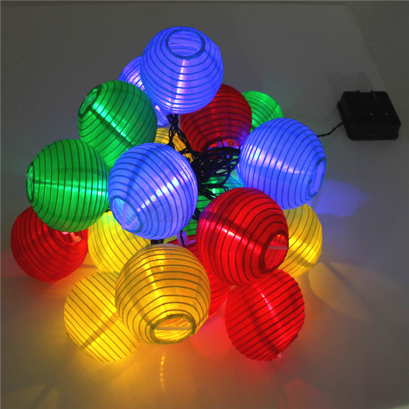 20 led solar lampions lichterkette lampionkette garten party deko bunt setwahl ebay. Black Bedroom Furniture Sets. Home Design Ideas