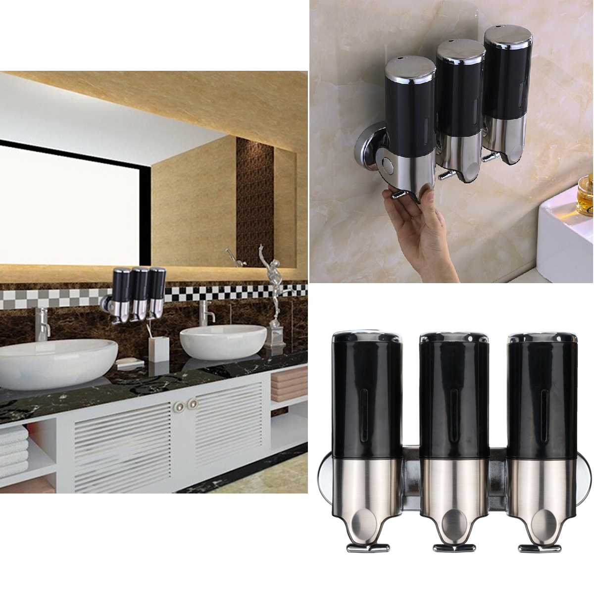 3x150ml edelstahl wandmontage seifenspender seife spender dosierer soap pumpe ebay. Black Bedroom Furniture Sets. Home Design Ideas