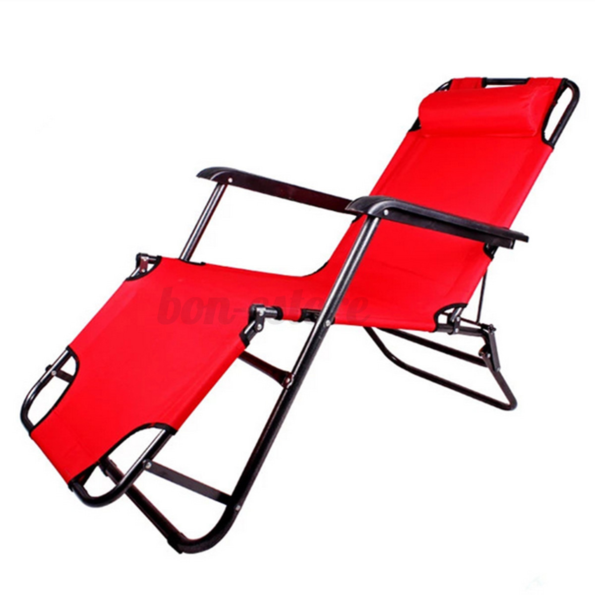 Outdoor folding reclining beach sun patio chaise lounge for Beach chaise lounger