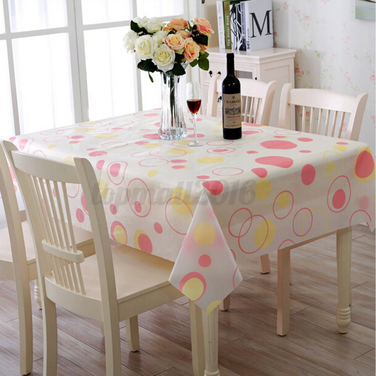 wipe clean pvc vinyl tablecloth dining kitchen table cover