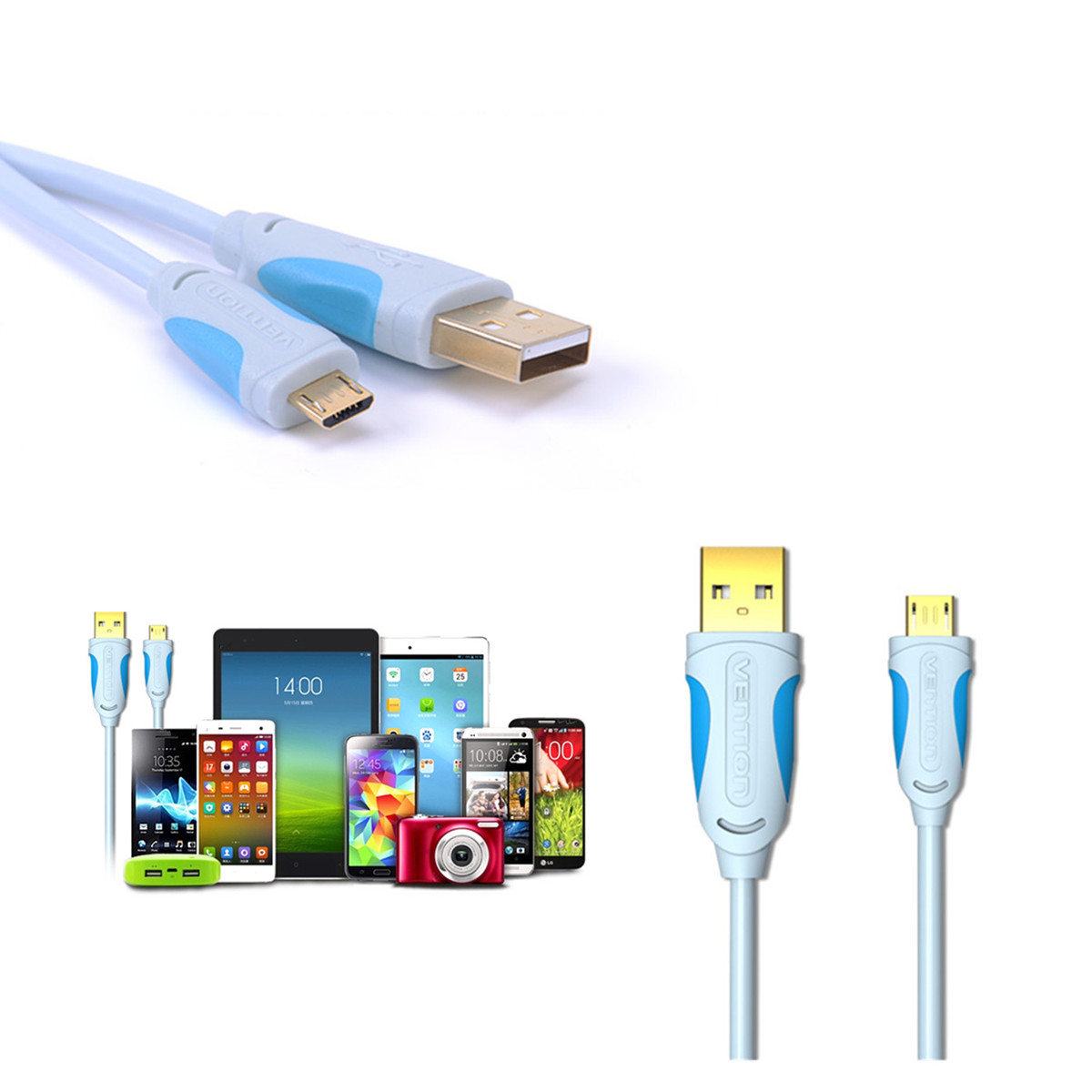 1m/2m/3m※VENTION※ Micro USB 2.0 Extension Data Sync Charger Cable ...