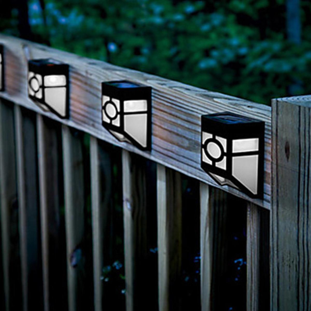 2 LED Solaire Lampe Murale Eclairage Lumière Pour Maison Jardin Cour Extérieur