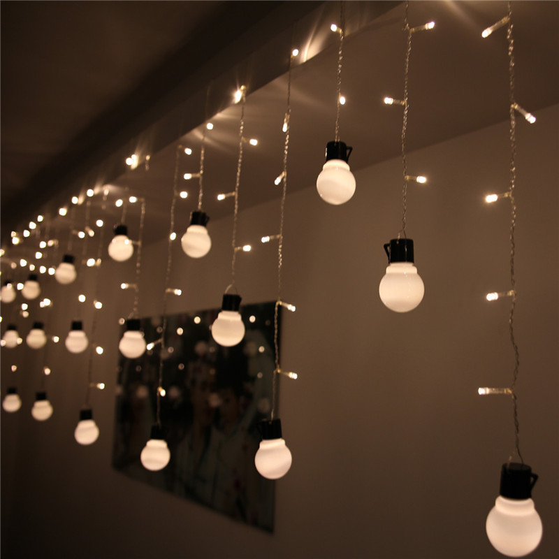 details about led bulb strip icicle string fairy lights warm white. Black Bedroom Furniture Sets. Home Design Ideas