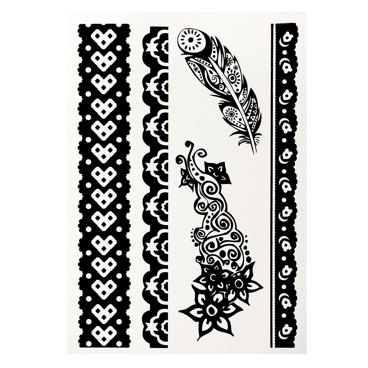 1pcs diy design black white henna ink lace temporary flash
