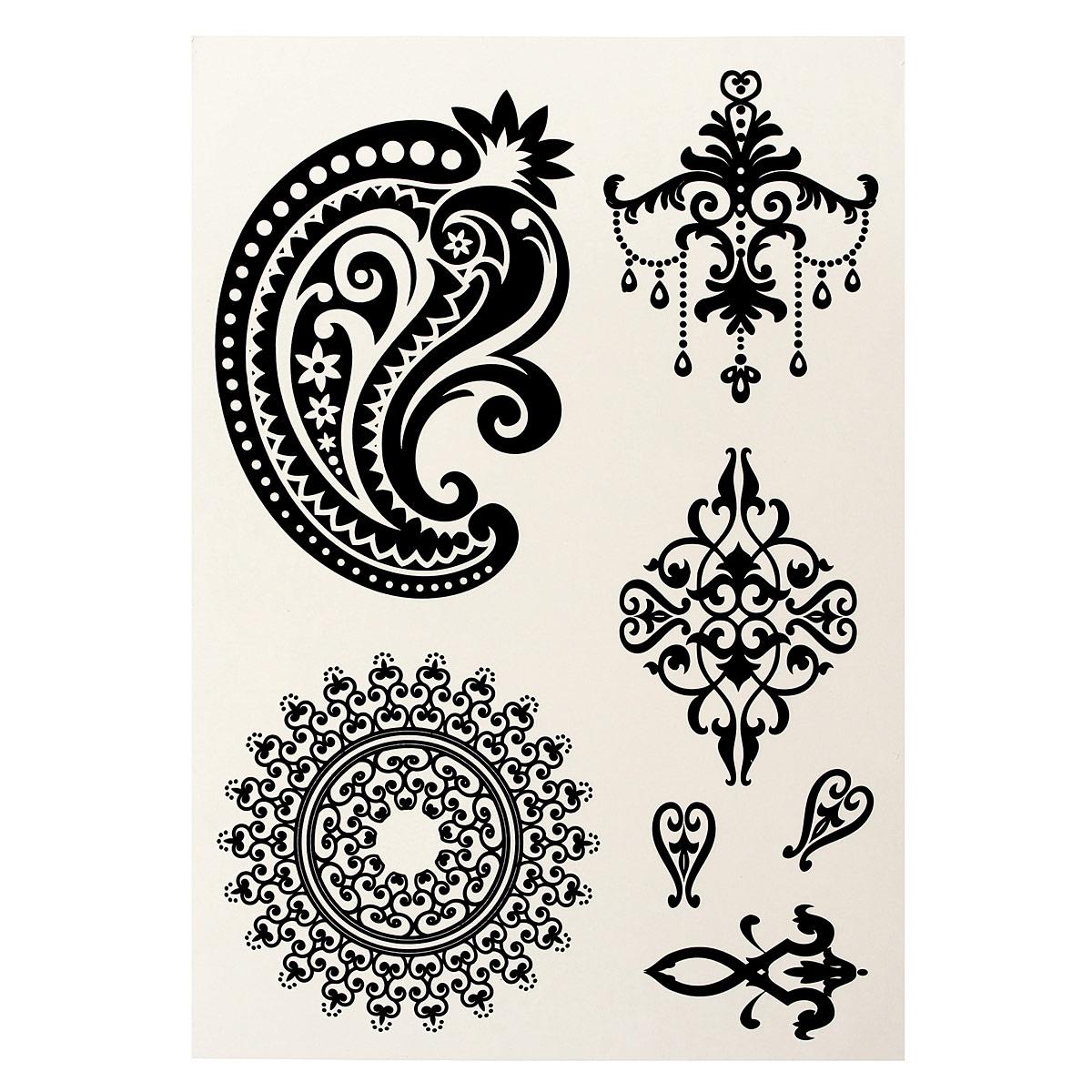1pcs black white temporary flash tattoo inspired sticker for White henna tattoo ink