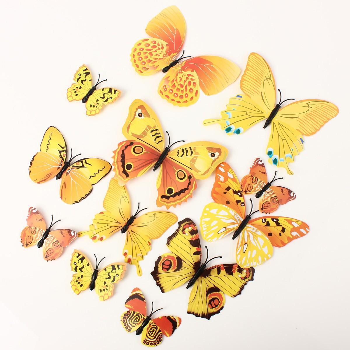 12pcs papillon sticker 3d d coration mariage mural salon diy pingle aimant uk ebay. Black Bedroom Furniture Sets. Home Design Ideas