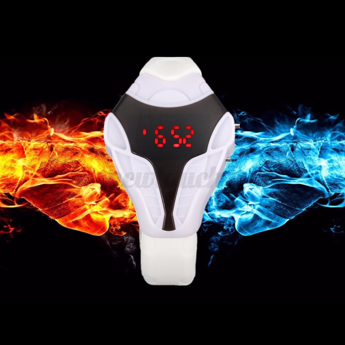 Fashion Digital LED Watch Cobra Triangle Dial Silicone Wrist Watches Halloween