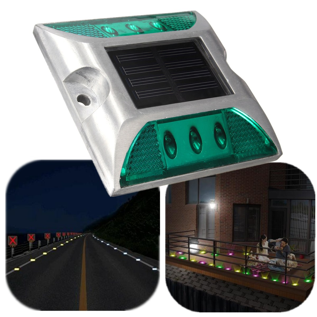 aluminium etanche 6 led solaire lampe lumiere pour maison jardin cour ext rieur ebay. Black Bedroom Furniture Sets. Home Design Ideas