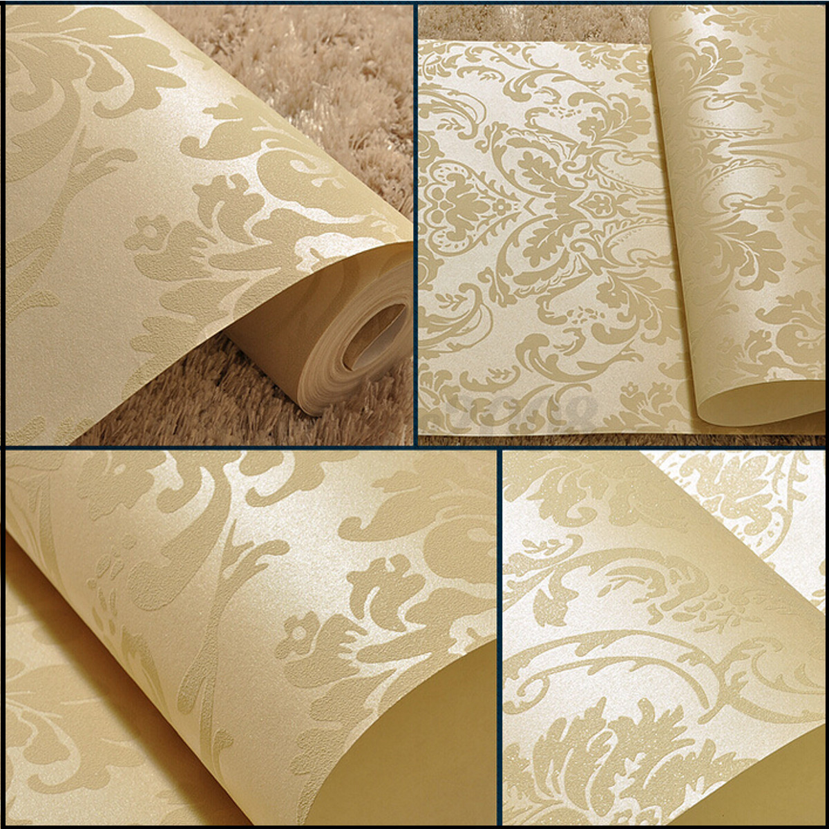 10M Embossed Damask Design Textured Flocked Non-woven