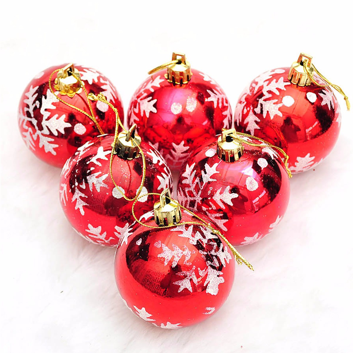 Decorative Christmas Ball Ornaments: 6PCS Snowflake Balls Christmas Ornaments Xmas Tree Hanging