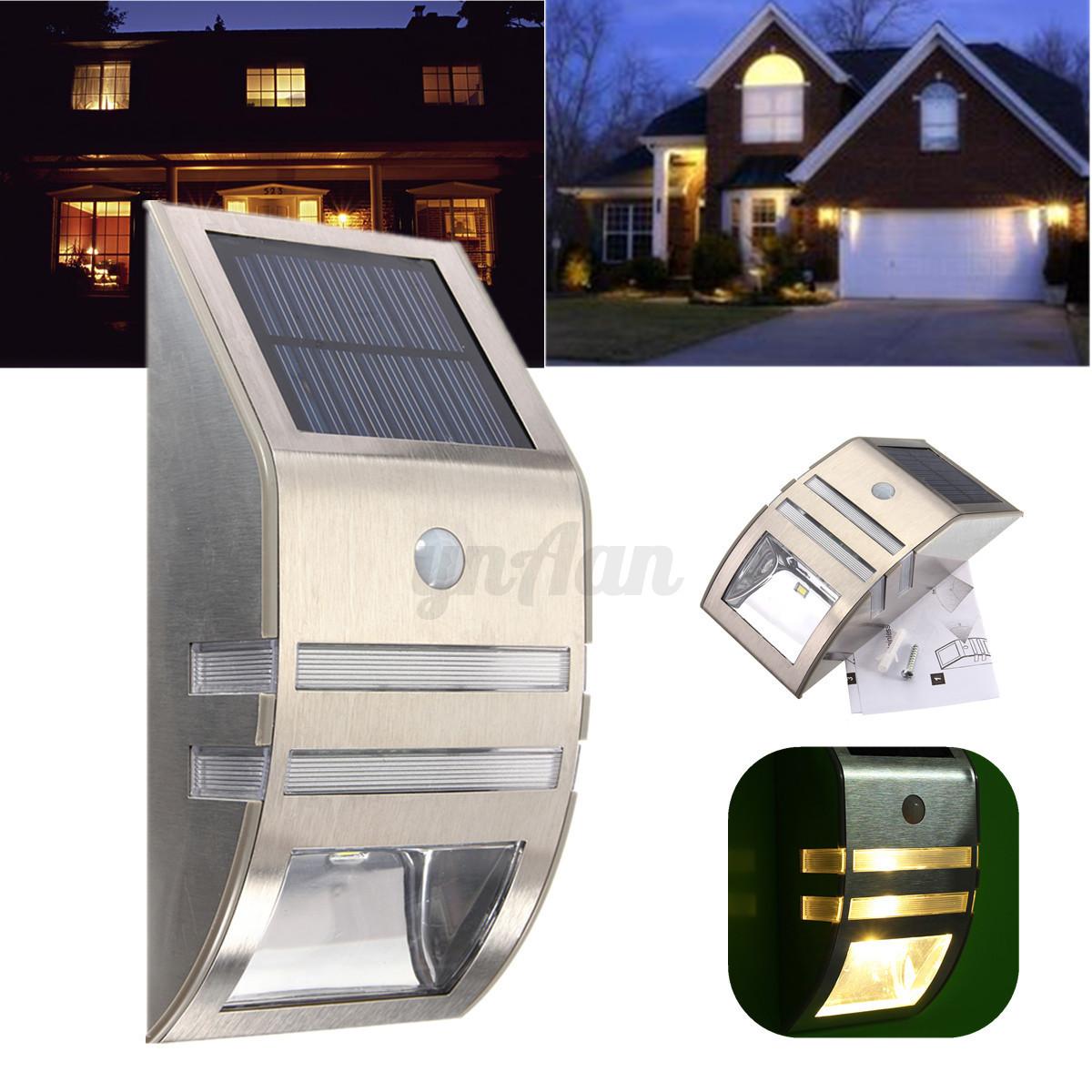 Pir 2 led acier solaire lampe mural applique d tecteur for Lumiere solaire interieur