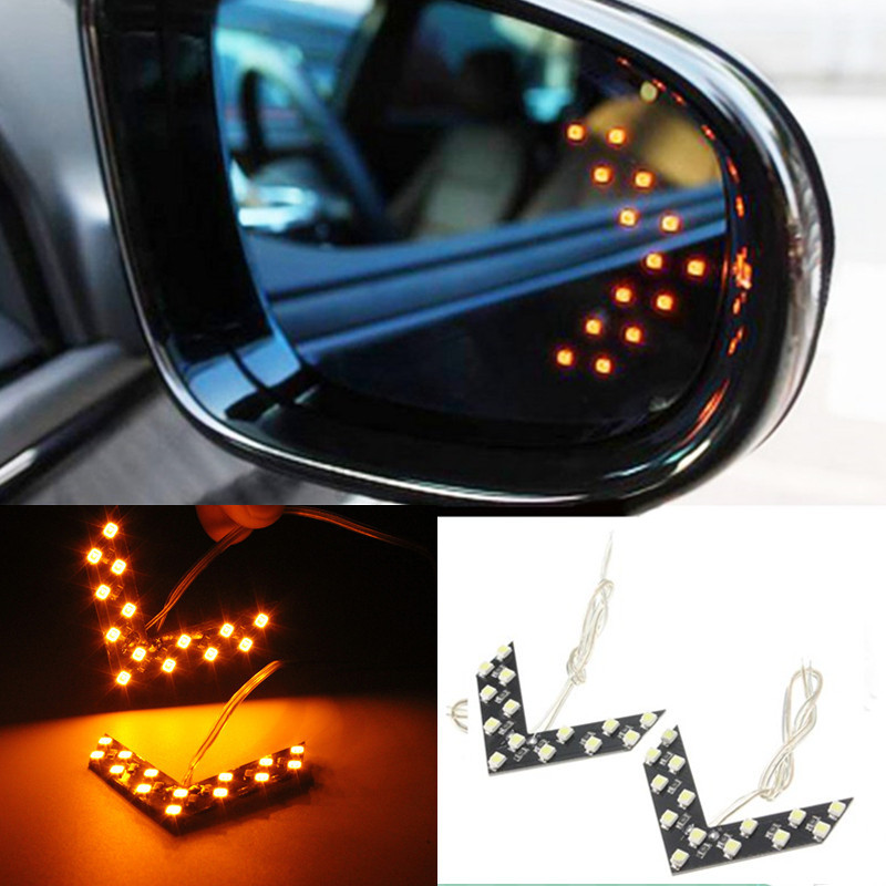 2x 14 smd led fl che clignotant r troviseur miroir feu voiture lampe signal side ebay. Black Bedroom Furniture Sets. Home Design Ideas