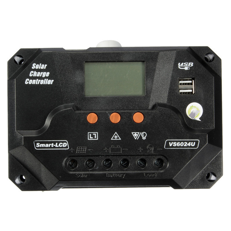 12/24V 10A~80A PWM LCD USB Solar Panel Battery Regulator Charge Controller