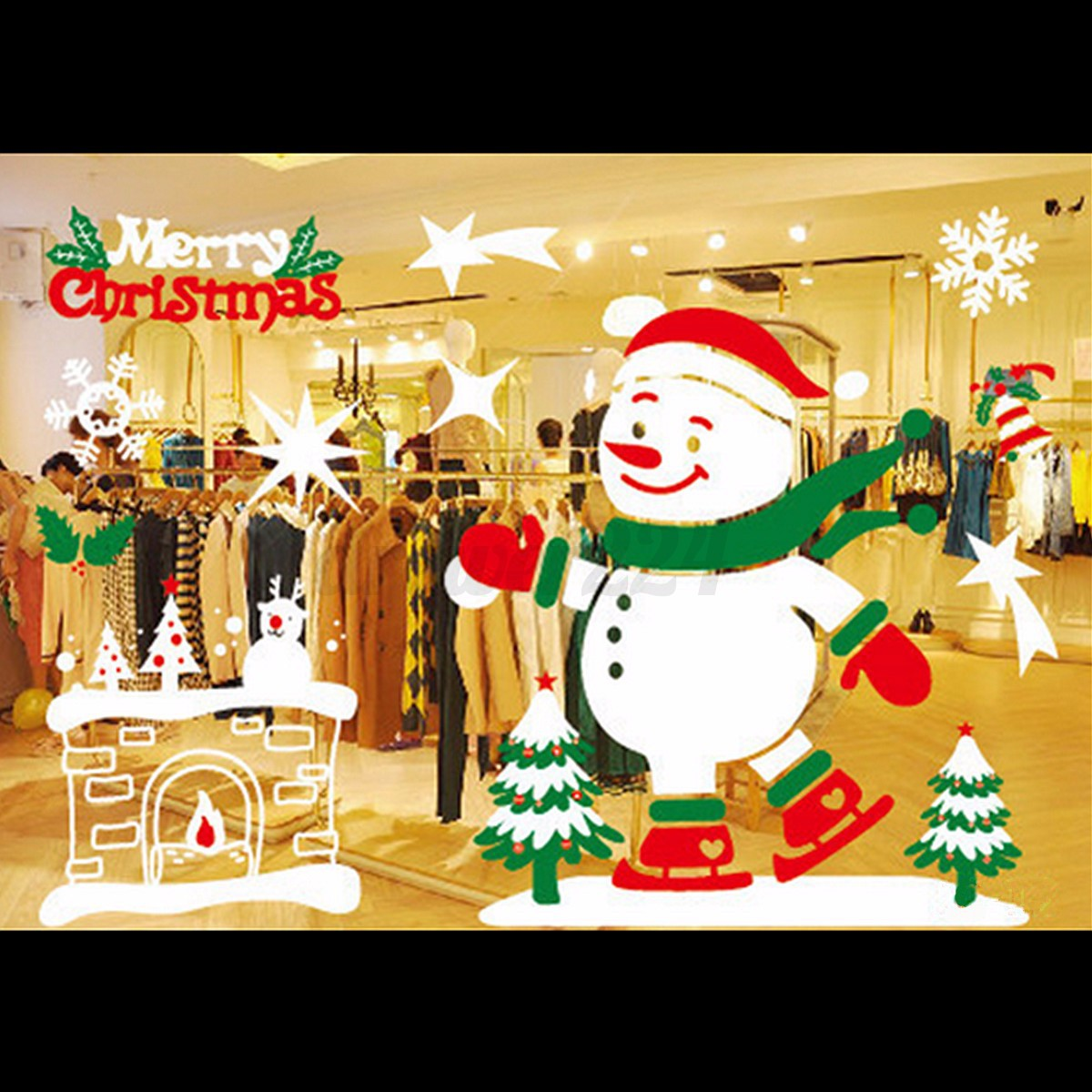 Christmas decals decor art removable mural show window for Christmas window mural