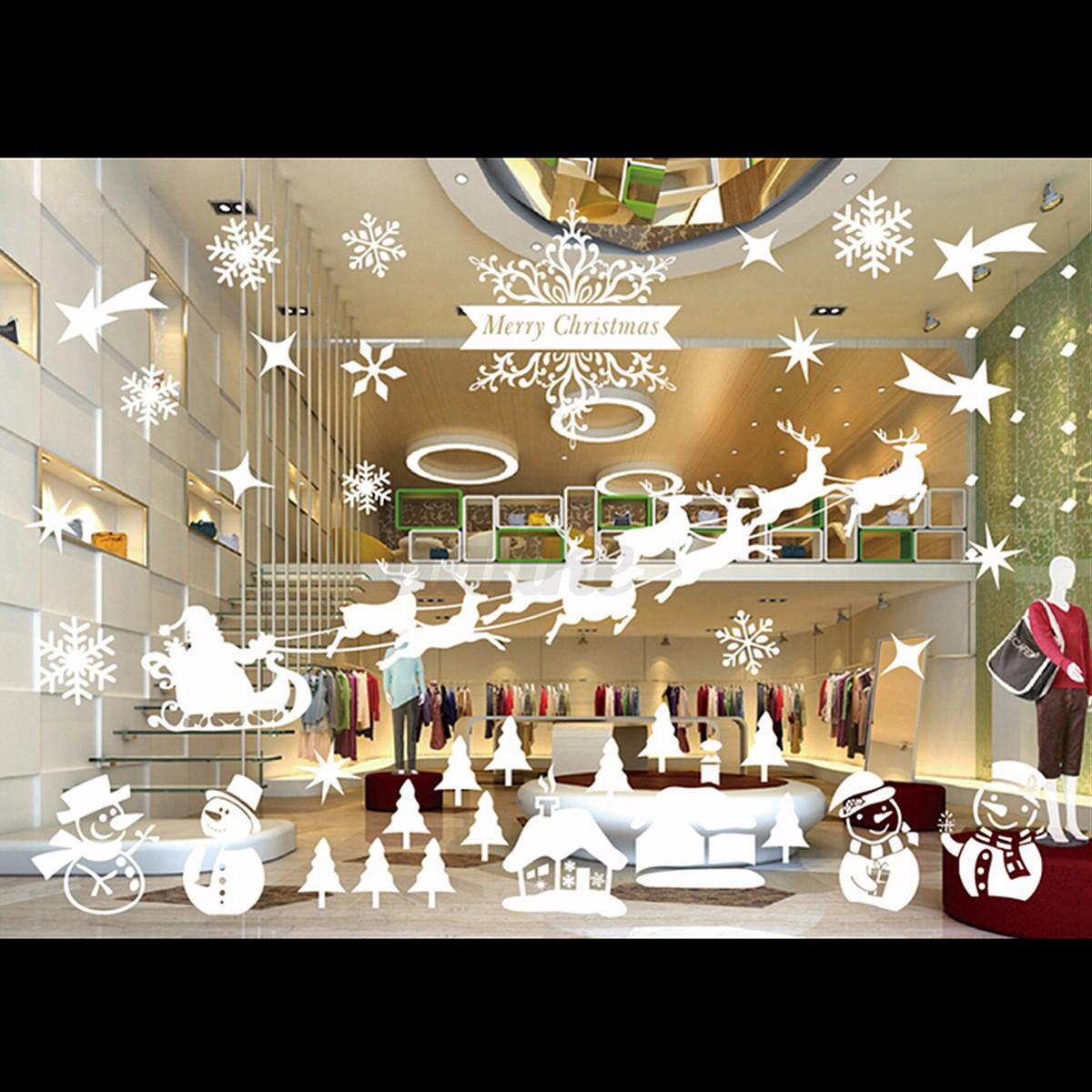 White Christmas Wall Stickers Snow Snowflake Decal Window ...