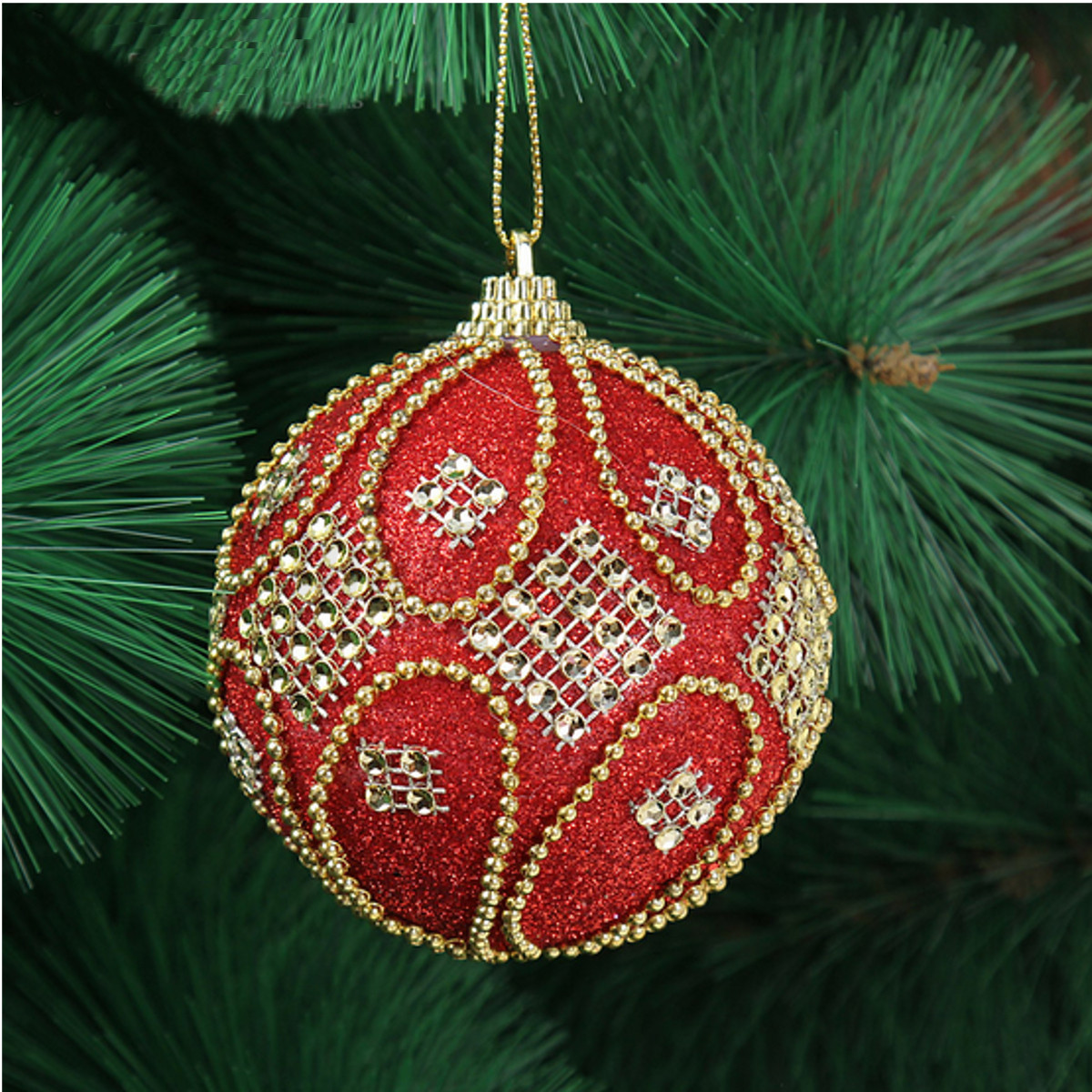 Decorating Christmas Balls With Glitter : Cm balls rhinestone baubles glitter party christmas xmas
