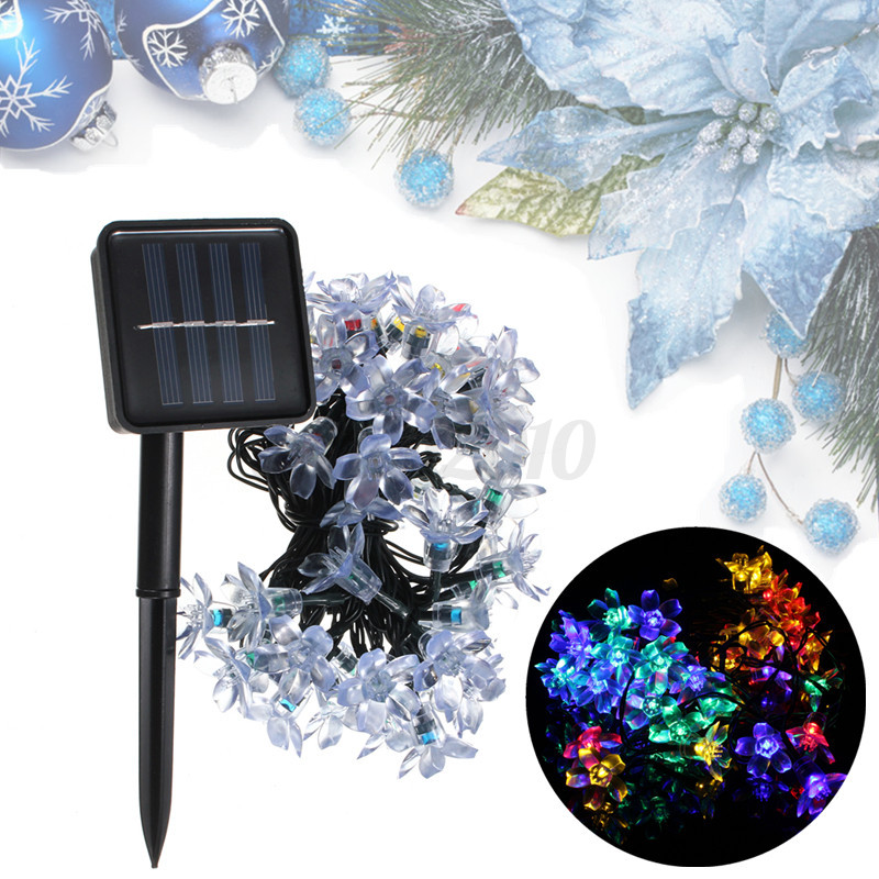 guirlande solaires etanche ip65 7m 50 led fleur lune jardin lampe no l mariage. Black Bedroom Furniture Sets. Home Design Ideas