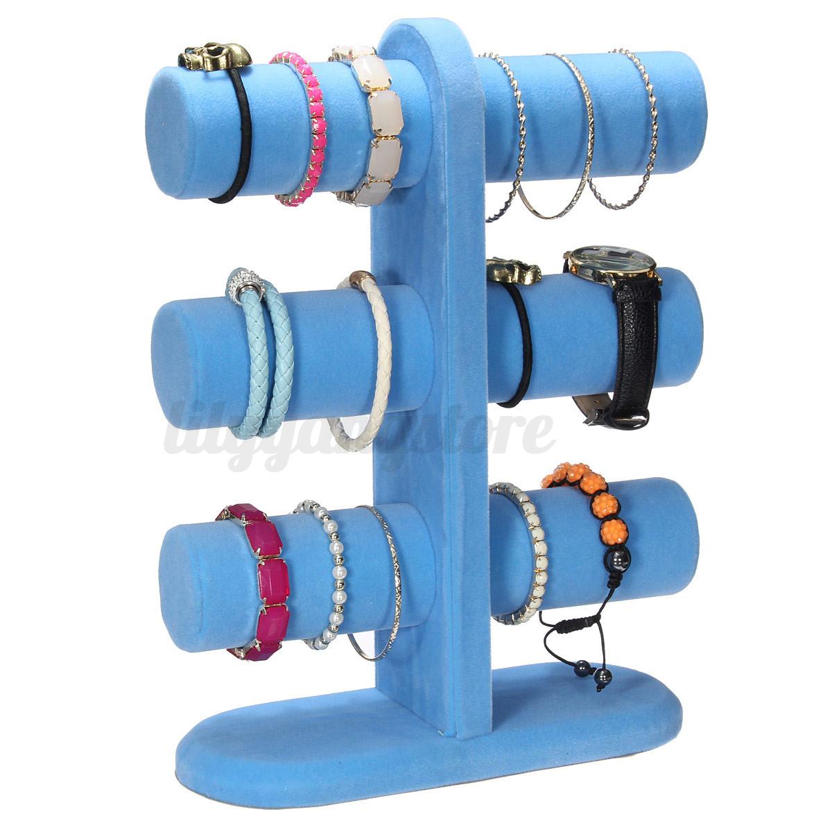 Hot 3 Tier Velvet Jewelry Display Stand Holder Bracelet