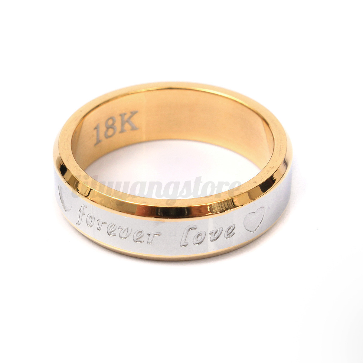Gold Plated Couple Rings Men/Women's Titanium Steel ...