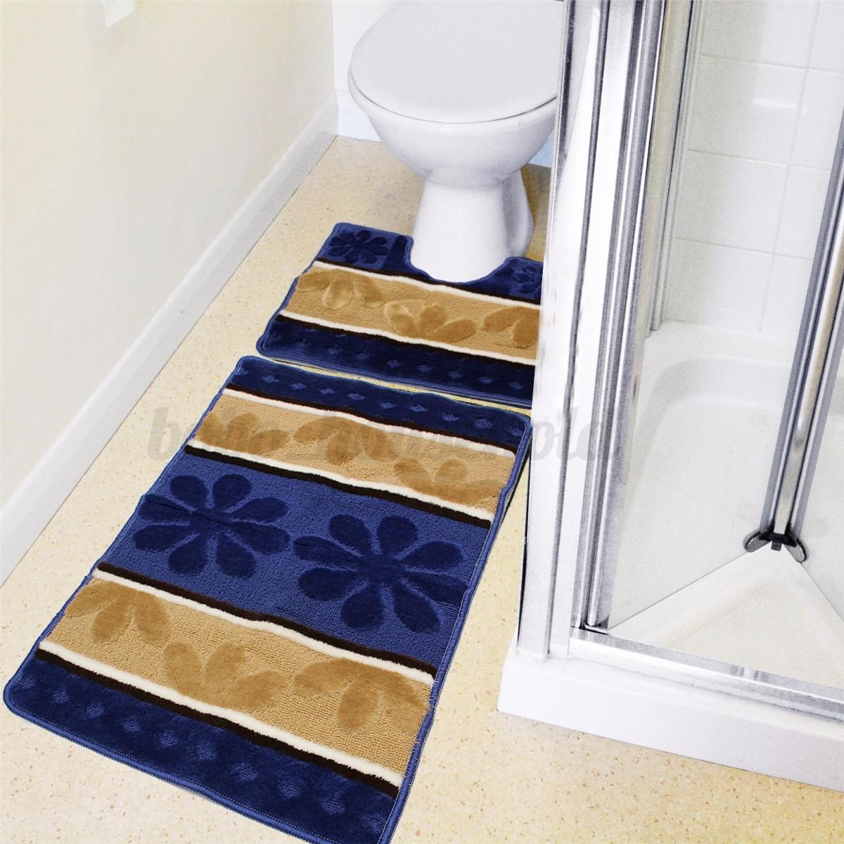 Washable Bathroom Carpet: 2 Piece Bathroom Mat Pedestal Set Bath Rug Toilet Non Slip