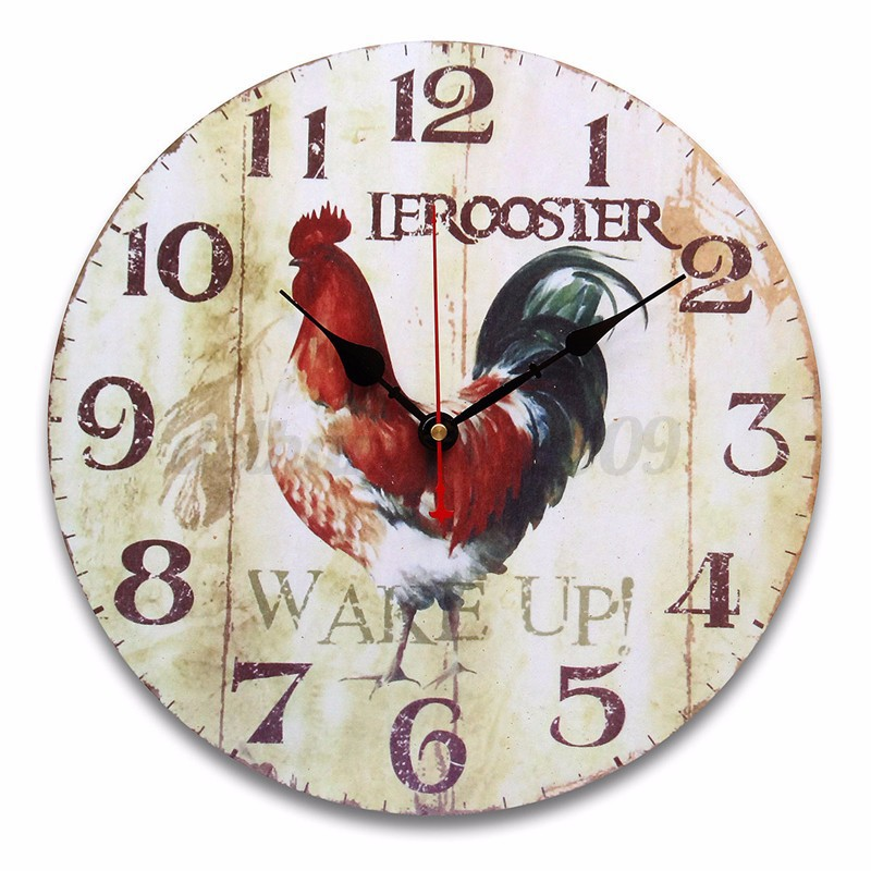 retro house gifts retro vintage chic chicken wooden digital wall clock