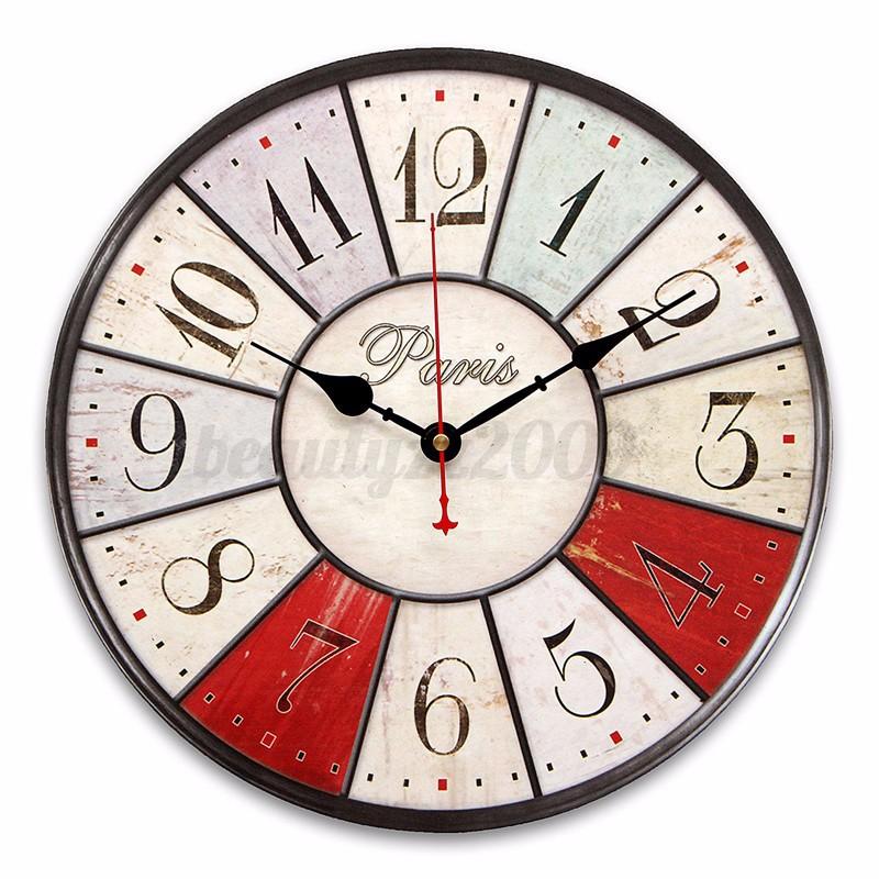 Vintage moderno grande orologio da parete di legno rustic for Orologio stickers