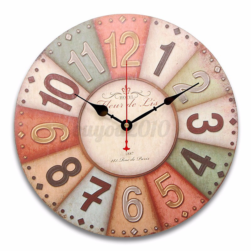 large wooden wall clock vintage colorful clock rustic shabby home decoration ebay