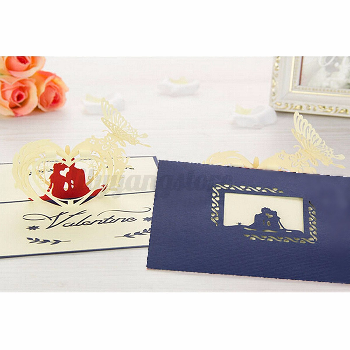 Pop Up Wedding Invitation 3D Greeting Card Flower Happy ...