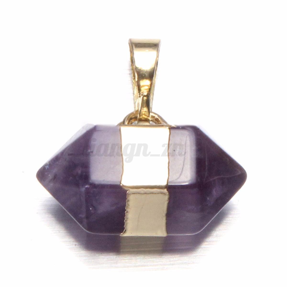 Pendentif Naturel Cristal Hexagonal Breloque Collier de Pierre Bijoux Strass