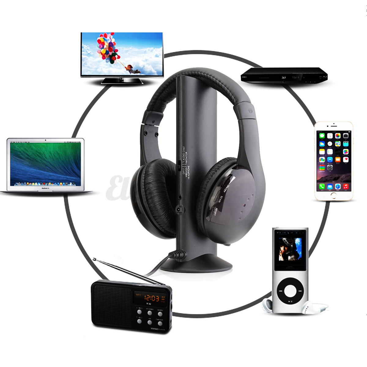 5 en1 sans fil ecouteur casque audio hifi moniteur fm radio mic pr pc tv dvd mp4 ebay. Black Bedroom Furniture Sets. Home Design Ideas
