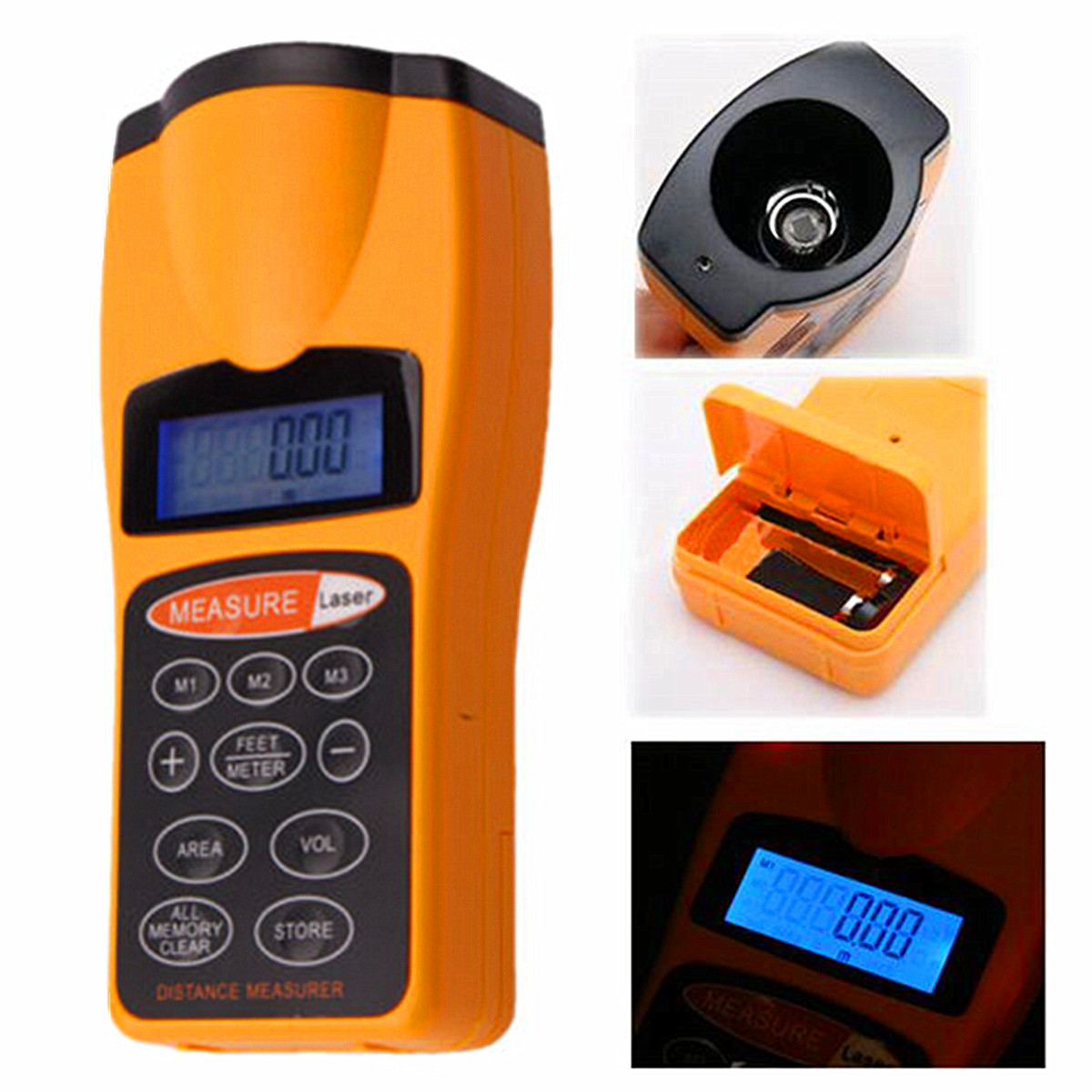 Electronic Tape Measure : Tape ultrasonic measure distance meter laser pointer