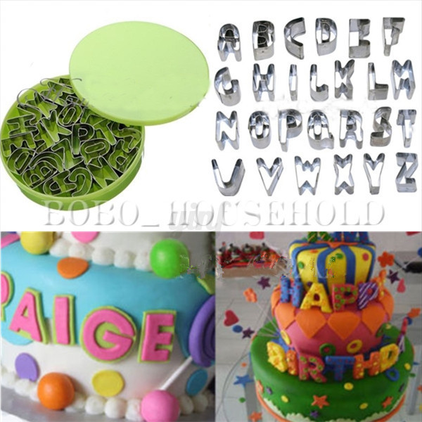 Cake Decorating With Letters : 26Pcs Alphabet Letters Cake Decorating Fondant Icing ...