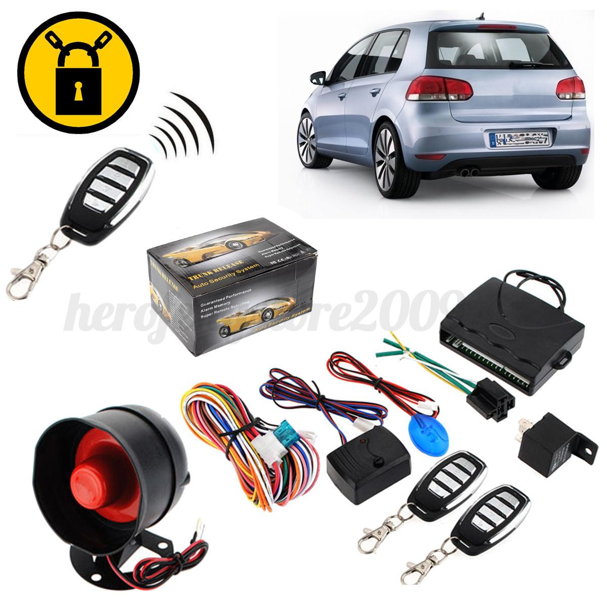 2 Remote One Way Car Engine Auto Alarm System Keyless Entry Central ...