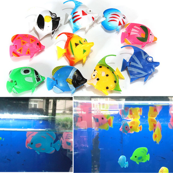 10pcs Artificial Tropical Fish Floating Moveable Aquarium