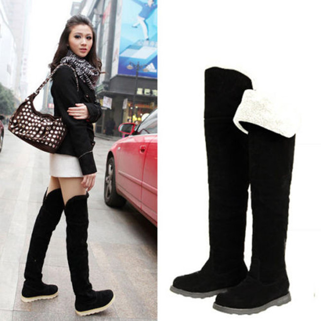 2016 Fashion Womens Over the Knee Flat Heel Long Boots Winter Warm ...