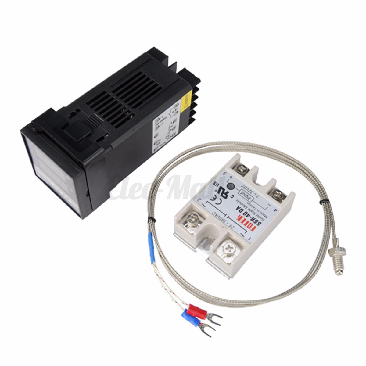 220V PID REX C100 Temperature Controller   max.40A SSR K Thermocouple #2257A9